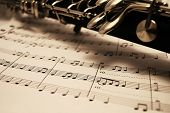 stock photo of musical instruments  - Sheet music and instrument  - JPG