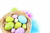 Easter eggs in nest and decorative feathers, isolated on white