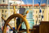 image of rudder  - view of an old wooden  sailboat rudder - JPG
