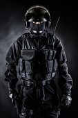 pic of anti-terrorism  - Spec ops soldier in uniform on black background - JPG