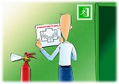 Постер, плакат: Evacuation plans & fire extinguishe