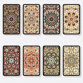 picture of kaleidoscope  - business cards collection with kaleidoscope pattern  - JPG