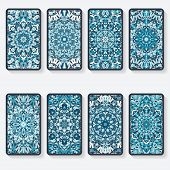 foto of kaleidoscope  - business cards collection with kaleidoscope pattern  - JPG