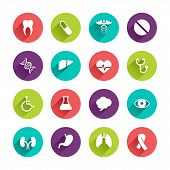 stock photo of flat stomach  - Vector Application  Web Icons Set in Flat Design with Long Shadows on circle buttons with tooth pill caduceus liver heart laboratory brain eye kidney lung cancer dna stomach disabled signs - JPG