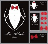 stock photo of tuxedo  - Business tuxedo background with a red bow tie and copy space - JPG