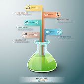 image of flask  - Modern infographic template with chemistry flask and ribbons for 5 options - JPG