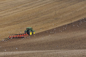 picture of four-wheel  - Large Modern Four Wheel Drive Tractor Ploughing with Disk Harrow in Stubble Field - JPG