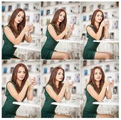 image of redhead  - Fashionable attractive young woman in green dress sitting in restaurant - JPG