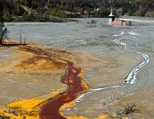stock photo of water pollution  - Mining disaster and water pollution in Romania - JPG