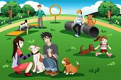 picture of dog park  - A vector illustration of people having fun in a dog park - JPG