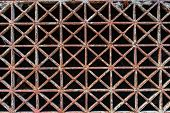 foto of iron star  - The old rust star iron floor pattern background - JPG