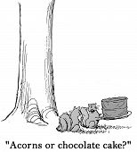 stock photo of acorn  - Cartoon of one squirrel saying to the other - JPG