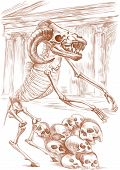 picture of minotaur  - Illustration of a series of legendary animals and monsters  - JPG