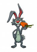 stock photo of wild-rabbit  - Funny cartoon grey rabbit with long ears standing eating a carrot - JPG