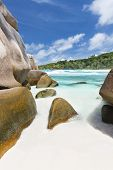 picture of coco  - Granite boulders and turquoise water at Anse Cocos in La Digue Seychelles - JPG