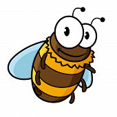stock photo of bumble bee  - Happy flying cartoon bumble bee or honey bee with a striped body and large googly eyes - JPG