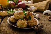 image of sesame seed  - Cheese mini buns from home dough sprinkled with sesame seeds poppy and caraway seeds orange juice fresh apple and herbs on top - JPG