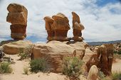 picture of cloud formation  - Balanced sandstone formations in the desert of southern Utah - JPG