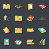 pic of web template  - Flat isometric book icons symbols logos isolated set template web vector illustration - JPG