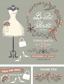 image of dress mannequin  - Bridal shower  template set - JPG