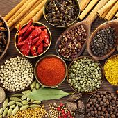 image of mace  - Spices and herbs in metal bowls and wooden spoons - JPG