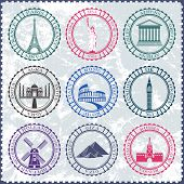 stock photo of world-famous  - Stickers and icons of travel - JPG