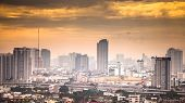 stock photo of petronas twin towers  - The construction of modern city in Bangkok Thailand. ** Note: Soft Focus at 100%, best at smaller sizes - JPG