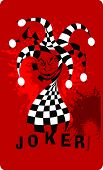 stock photo of joker  - Joker game card with the image of the red and red joker - JPG