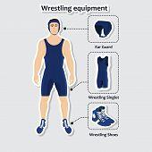 stock photo of wrestling  - Set of wrestling equipment with man - JPG