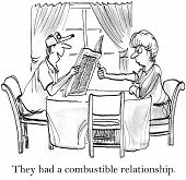 stock photo of combustion  - Cartoon of husband and wife - JPG