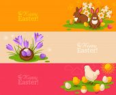 stock photo of bird-nest  - Vintage Happy Easter Banners Set - JPG