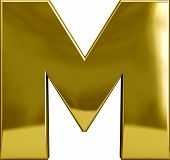 picture of letter m  - Gold metal M letter character isolated on white - JPG