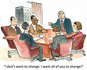 foto of leader  - Cartoon of business boss saying to his staff - JPG
