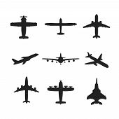 picture of aeroplane symbol  - Different monochrome vector airplanes icon set in flat style - JPG