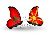 picture of macedonia  - Two butterflies with flags on wings as symbol of relations Morocco and Macedonia - JPG