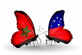 foto of samoa  - Two butterflies with flags on wings as symbol of relations Morocco and Samoa - JPG