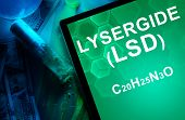 image of lsd  - Tablet with the chemical formula of Lysergide  - JPG