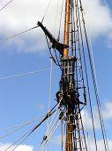 stock photo of yardarm  - Rigging on mast of tallship - JPG