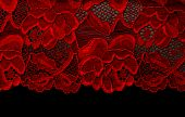 picture of red lingerie  - Red lace insulated on black background textile