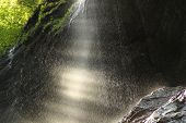 picture of cave  - morning spray or shower from water in the cave - JPG
