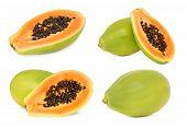 image of papaya  - Set ripe papaya isolated on white background - JPG