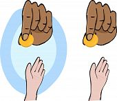 stock photo of tithe  - Hands and giving a gold coin symbolizing charity for Ramadan - JPG