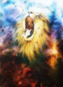 picture of airbrush  - A beautiful airbrush painting of a roaring lion on a abstract cosmical background - JPG