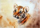picture of airbrush  - A beautiful airbrush painting of an adorable baby tiger head looking up on abstract blurry background - JPG