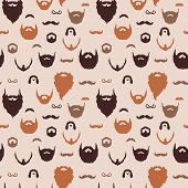 stock photo of goatee  - Beards and Mustaches pattern with flat design - JPG