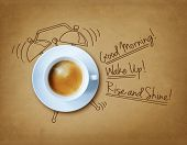 stock photo of morning  - Good morning coffee and alarm clock concept  - JPG