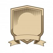foto of shield  - Vintage engraved shield with scroll vector - JPG