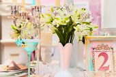foto of adornment  - Table with beautiful decorations for a wedding - JPG