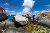 stock photo of virginity  - Stunning beach with unique huge granite boulders - JPG