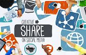 stock photo of social system  - Share Sharing Social Media Networking Online Download Concept - JPG